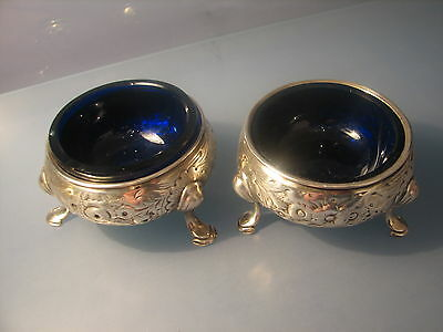 A pair of George II Georgian solid silver salts with blue liners 1748.