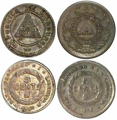 Lot of 2 Honduras 5 centavos, 1886, different types. KM-48 and 54. 1.55 grams.