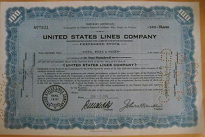 United States Lines Company, Shipping Company, Stock Certificate 1942, No. T821