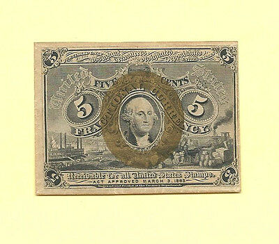 FR 1232 - Five Cents 2nd Issue Fractional Currency Crisp Almost  Uncirculated