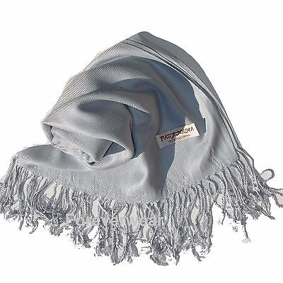 NEW Women Solid 100%Pashmina Wrap Stole Cashmere Shawl/Scarf Soft Silver #505