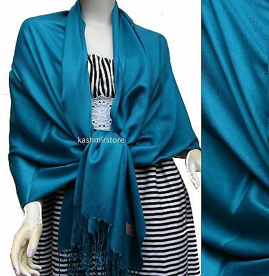 NEW Women Solid 100%Pashmina Wrap Stole Cashmere Shawl/Scarf Soft Teal #5808