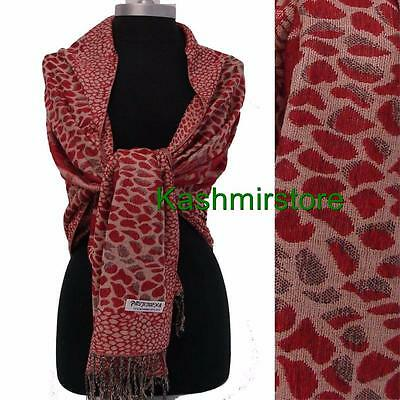 New Women's Soft Jacquard Pashmina Silk Scarf Shawl/Wrap Color Red/Beige #by109