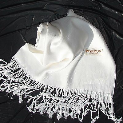 NEW Solid 100%Pashmina Wrap Stole Cashmere Wool Shawl/Scarf Soft White #P202