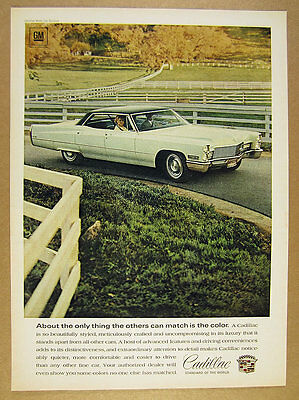 1968 Cadillac Sedan DeVille white car black top photo vintage print Ad