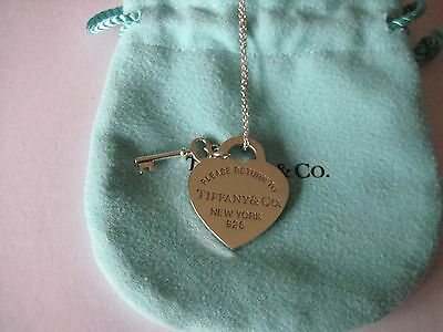 """Genuine Tiffany & Co. Return to Tiffany Heart and Key Necklace-16""""-Just Polished"""
