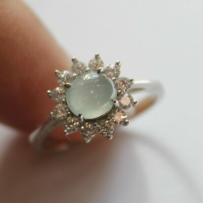 Size 6 ** CERTIFIED Natural  A  Beautiful Jadeite JADE Ring 925 Silver #R137