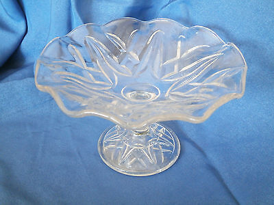Clear Depression Glass High Tea Frill Edge Small Tazza /Cake Stand /Comport