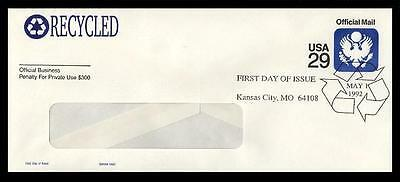 UO84 29c RECYCLED WINDOW ENVELOPE FDC - GAMM