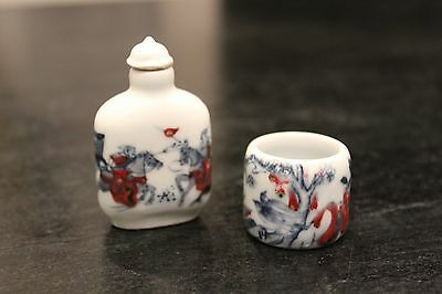 Antique Chinese Signed Porcelain Snuff Bottle and Archer's Ring