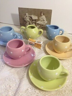 Vintage Pottery CHILD'S TEA PARTY SET Harlequin Colours Polka Dots Cups Saucers