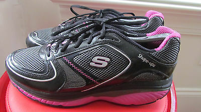 Skechers Shape-Ups Black And Pink Leather Women's Walking Shoes Size 11