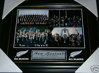 2015 New Zealand All Blacks Rugby Union World Cup Champions Small Print Framed