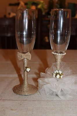 Rustic Bride and groom wedding toasting flutes handcrafted glasses