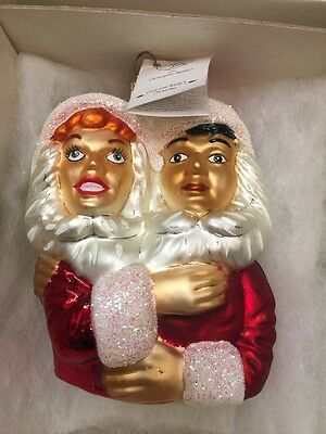 1997 Christopher Radko I Love Lucy & Ricky Heart blown Glass Christmas Ornament