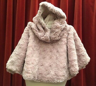 Kids Soft Faux Fur Dusky Pink Hoodie Cape Poncho Approx age 2-4 Years