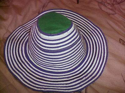Traditional  Womens Ladies Cambodian Hat - Blue & White Local Farmer Design