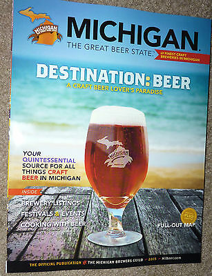 2015 MICHIGAN DESTINATION BEER GUIDE BREWING advertising Craft Beer Brewery MAP