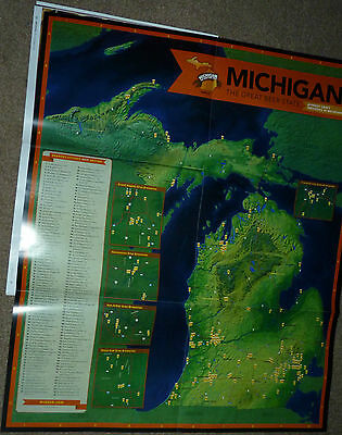 2015 POSTER MAP IN MICHIGAN DESTINATION BEER GUIDE BREWING Craft Beer Brewery !!