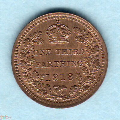 Great Britain.  1913 1/3rd  Farthing..   UNC