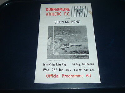 Dunfermline v Spartak Brno Jan 1966 Inter Cities Fairs Cup