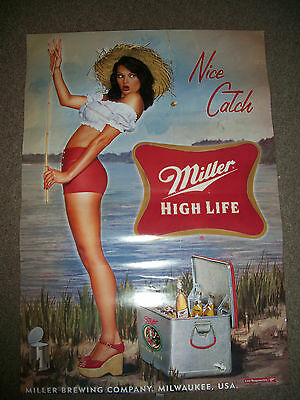 """2004 MILLER HIGH LIFE BEER BREWING NICE CATCH SEXY GIRL FISHING POSTER 26""""x18"""""""
