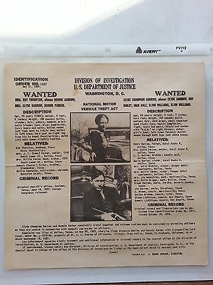 Bonnie and Clyde Wanted Poster Authentic Original