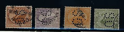 "Western Australia State Stamps - 4 x Swan perforated ""OS"""