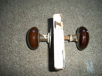 Vintage Antique M. W. Co. Door Lock With 2 Brown Knobs Handles