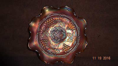 Vintage Northwood Marigold Carnival Glass Grape & Cable Ruffle Bowl