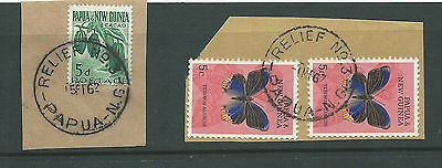 Papua New Guinea Relief # 3 Postmarks x 2 on PNG stamps on 2 pieces