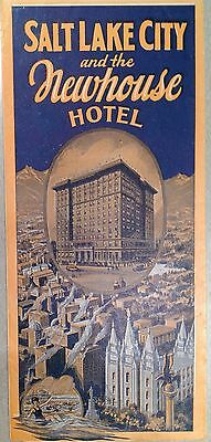 1930  cir Salt Lake City UTAH & Newhouse HOTEL Road Map of Western Sts deco Type