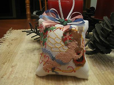 Finished Completed Christmas Cross Stitch Ornament Cherub with mandolin