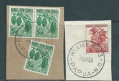 Papua New Guinea Relief Postmarks on PNG stamps on piece x 2