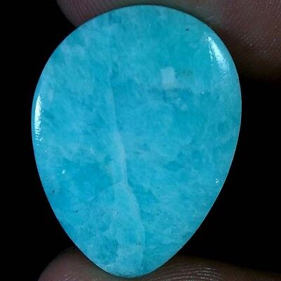 14.75Cts AAA 100% NATURAL ROYAL GREEN AMAZONITE PEAR CABOCHON UNTREATED GEMSTONE