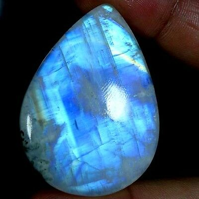 113.80Cts. 100% NATURAL CHATOYANT RAINBOW MOONSTONE PEAR CABOCHON FINE GEMSTONES