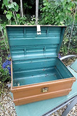 Shabby chic Victorian Trunk coffer shabby chic LARGE 19th antique metal tin