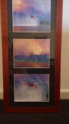 Framed photographs of Sikorsky Sky Crane 'Elvis' from Black Saturday 2009 Fires