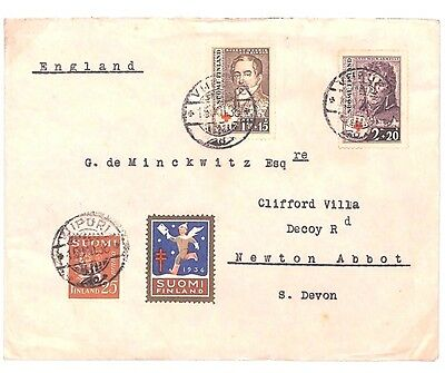 C176 1938 FINLAND Charity Issues to Newton Abbot GB Fine Cover {samwells-covers}