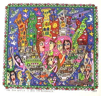 Farblithographie James Rizzi 1999 : 2D The big apple is big on romance