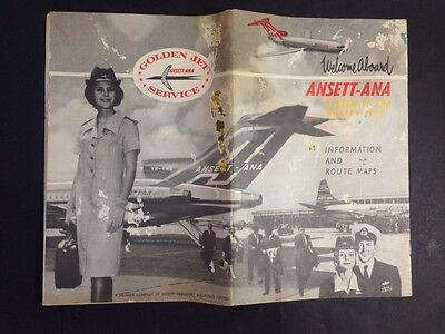 Vintage ANSETT ANA AIRLINES INFORMATION & ROUTE MAPS Booklet 1963-65 Golden Jets