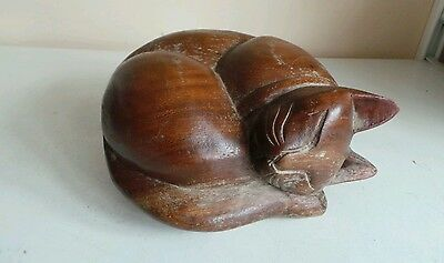 Large Carved Wood Sleeping Cat Ornament Figure Home Pet Grave Decor