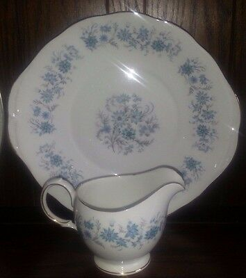 Vintage Pretty Colclough China Blue Floral Cake Plate & Jug  Wedding Tea Room