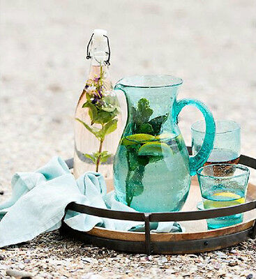 NEW 'FRENCH COUNTRY COLLECTIONS' Seeded Bubble Ocean Blue Glass Pitcher/Jug