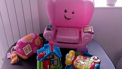 Girl toys bundle fisher price laught and learn chair mickey phone handbag house