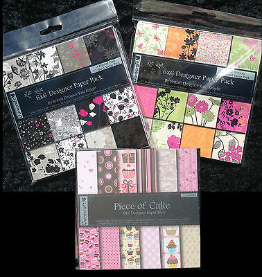 """Craft Dovecraft Paper Packs Pads x 3 - 6"""" square FLOWERS CUPCAKE PINK"""