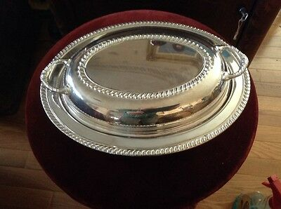 Vintage Silver Alloy Oval Serving Tray / Empire/ Divided  Glasbake 558