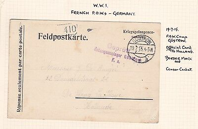 Wwi France French 1915 Pow Camp Gustrow Card To Holland Censor Border Mark 410