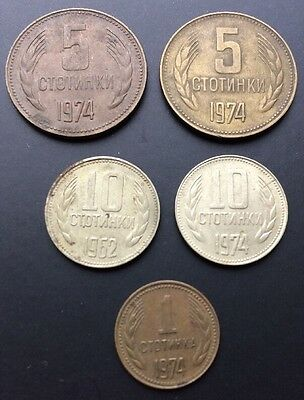 LOT 5x 10 5 1 STOTOINKI 1974 1962 BULGARIA Nice Old Coins Collection