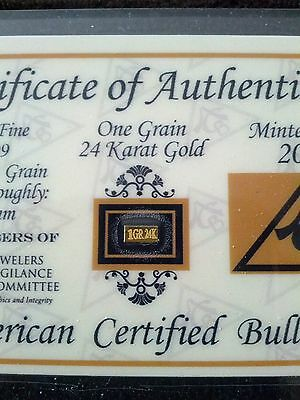 Acb Gold Solid 24K Bullion Minted. 1Grain Bar 99.99 Fine W/ Cert Of Authenticity